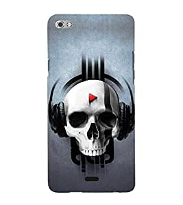 Skull Listening Music 3D Hard Polycarbonate Designer Back Case Cover for Micromax Canvas Sliver 5 Q450