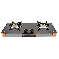 Vidiem Ignitio Glass 2 Burner Gas Stove, Black