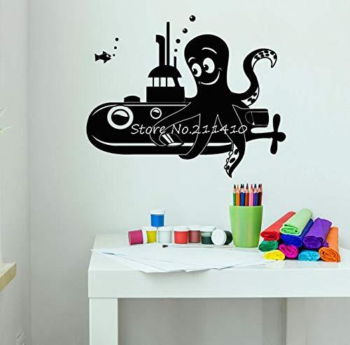 Wandaufkleber,Vinyl Wandtattoo Cartoon Octopus U-Boot Meer Stil Wohnkultur Für Kinder Baby Room Art Murals Abnehmbare Aufkleber 52X42 Cm