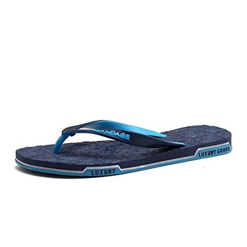 Herren Zehentrenner Peep-Toe Strand Slipper Urlaub Freizeit Sandalen Pantoletten weich Flach Flip Flops Hausschuhe Sommer Blau