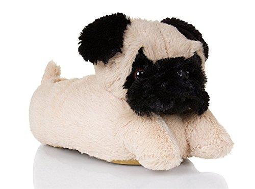 Martildo Fashion, Unisex 3D Neuartige, spaßige weiche warme bequeme Tier Geschenk Schlapfen, Mops, S (Bilder Kostümen In Mops)