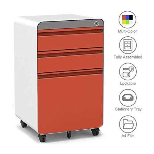Dripex Metall Rollcontainer 40x50x62cm 3 Schubladen Rontainer mit Schlüssel Aktenschränke Vollständig Zusammengebauter Bürocontainer 5 Räder Aktenschrank (Rundecke Orange) - Aktenschränke Montiert Komplett