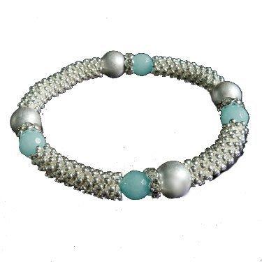 Park Lane FJ1088 Silberfarbenes Damen-Metallarmband mit Perle, Zirkonia und blauem Opal