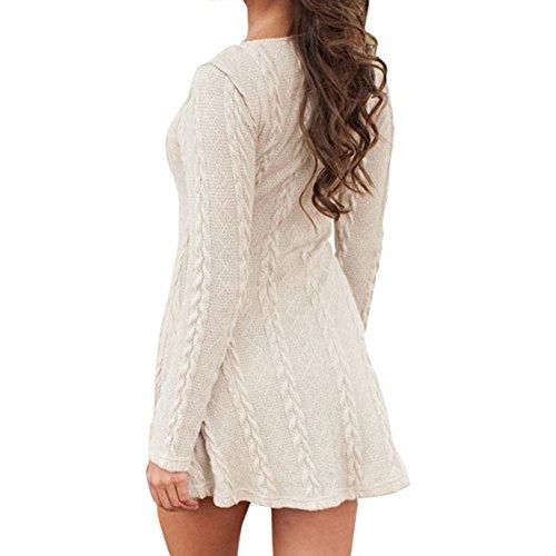 Highdas Burst-Modelle in der langen Abschnitt Pullover-Rundhalsausschnitt Langarm-Solid Color-Kleid Beige