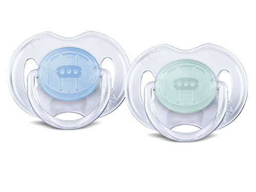 Philips AVENT BPA Free Translucent Orthodontic Infant Pacifier, 0-6 Months, Blue/Green, 2-Pack by Philips AVENT