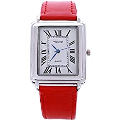 Yileiqi Unisex Men's Women's Silver Bezel White Face Rectangle Dial Red PU Leather Strap Watch Analog Quartz Hook Buckle Clasp Extra Battery