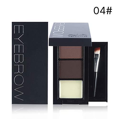 3 Farbe Berufsaugenbraue Pulver fein und glatt Brow Powder Makeup Tint Kit mit Pinsel und Spiegel Wasserdichte Brow Contour Palette (# ()