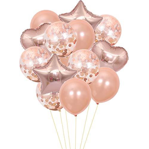 Thematys bellissimi palloncini da festa 20 pezzi in 7 colori diversi - alcuni riempiti di coriandoli - per feste e compleanni (beige)