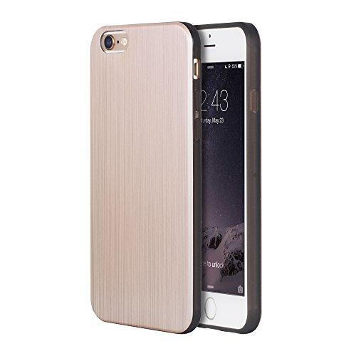 OATS Coque Etui pour Apple iPhone 6, 6s Case Bumper Aluminium Look - en Argent Or