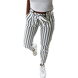 BaZhaHei, Mujeres Flacas Pantalones Vaqueros a Rayas a Rayas Corbata Cintura Alta Damas pantalón pantalón Skinny Women Striped Long Jeans Tie High Waist Ladies Pants Trouser Pantalón de Mujer