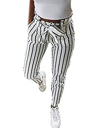a9492ebfda1 BaZhaHei Mujer Flacas Pantalones Vaqueros a Rayas a Rayas Corbata Cintura  Alta Damas pantalón pantalón Skinny