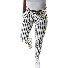 314e056ec BaZhaHei Mujer Flacas Pantalones Vaqueros a Rayas a Rayas Corbata Cintura  Alta Damas pantalón pantalón Skinny