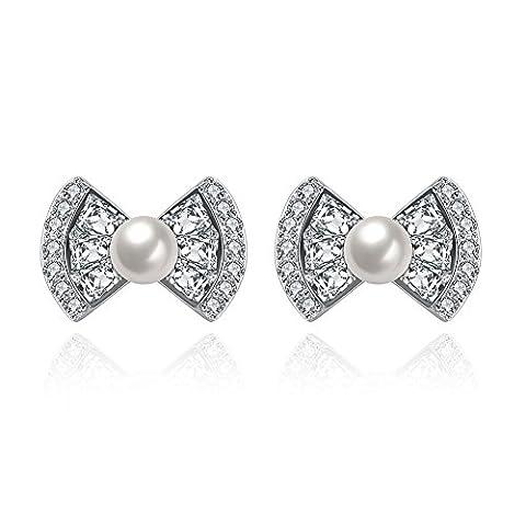 FushoP 925 Sterling Silver Sparkle Ribbon Bow Cubic Zirconia Rhinestone Pearl Stud Earrings (Blanc)