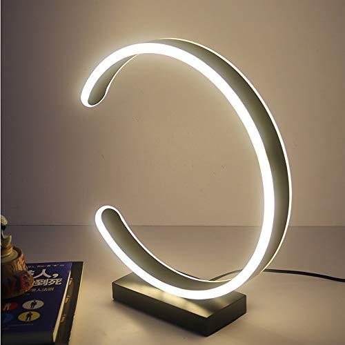 LED lampes de table en acrylique, rond en aluminium noir/café/blanc éclairage décoration bureau étudiant lumière bureau mode dortoir protection des yeux lampe (Color : Noir-Lumière chaude-40cm)