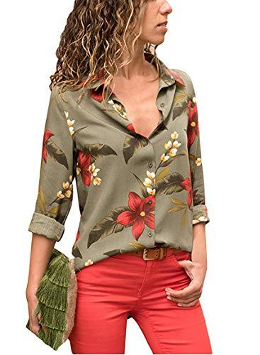Avanon Langarmshirts Damen Herbst Bluse Blumenmuster Shirts Mit Knöpfe V-Ausschnitt Langarm Hemd Shirt Tank Tops (Grün, XL)