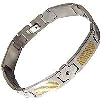 Chunky Edelstahl Magnettherapie Armband mit goldfarbenen Streifen preisvergleich bei billige-tabletten.eu