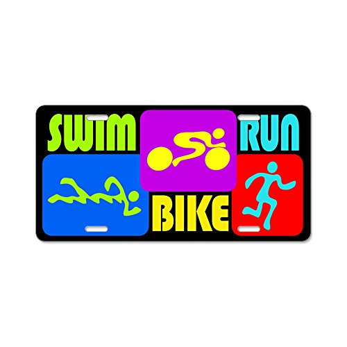 CafePress-Tri Swim Bike Run Zahlen Aluminium Nummernschild-Aluminium Nummernschild, vorne Nummernschild, Vanity Tag