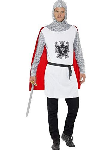 Fancy Ole - Herren Männer Männer mittelalterliches Ritter Kostüm mit Top mit angebrachtem Cape, Gürtel und Kapuze, perfekt für Karneval, Fasching und Fastnacht, L, Weiß
