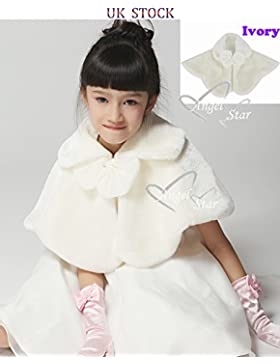 Ivory wedding party Girl in pelliccia stola involucri, taglia S/M/L