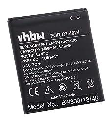 vhbw Li-Ion Akku 1400mAh (3.7V) für Handy Smartphone Telefon Alcatel One Touch OT-4024, OT-4024D, OT-4024X, Pixi First wie TLi014C7.