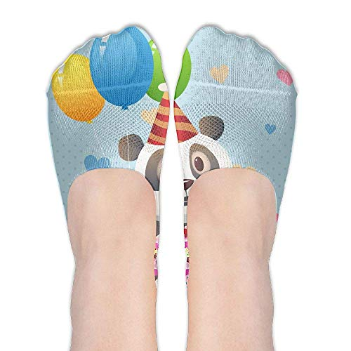 CVDGSAD Cute Panda Birthday Women's Polyester Cotton Socks Ladies Boat Socks Deodorant Boat Socks Thin Section Casual Socks Low Breast Socks