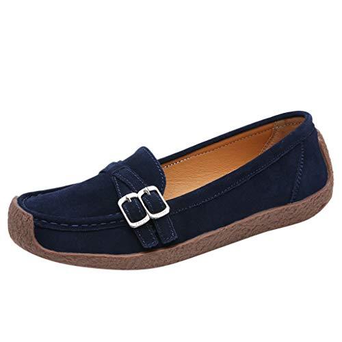 EUCoo_shoes Frauen Flache Schuhe LäSsig Einfarbig Wildleder Quadratischen Kopf Flachen Boden Set Fuß Einzelne Schuhe Weibliche Erbsen Schuhe 35-42(Blau, 41) Frau Moc