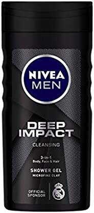 NIVEA Men Body Wash, Deep Impact, 3 in 1 Shower Gel for Body, Face & Hair, with Microfine Clay, 25