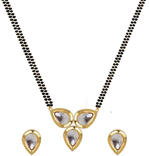 Aabhu Trendy Bollywood Inspired Gold Plated 3 Kundan Studded Fancy Reversible Mangalsutra Tanmaniya With Earrings Necklace Jewellery For Women