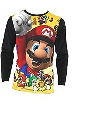 bbc4f43d8142 Aivosen Unisexe Fashion Super Mario Bros Tee-Shirt Manches Longues pour  Hommes et Femmes
