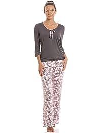 Camille - Pyjama en coton - haut gris à manches 3/4 - pantalon rose à pois