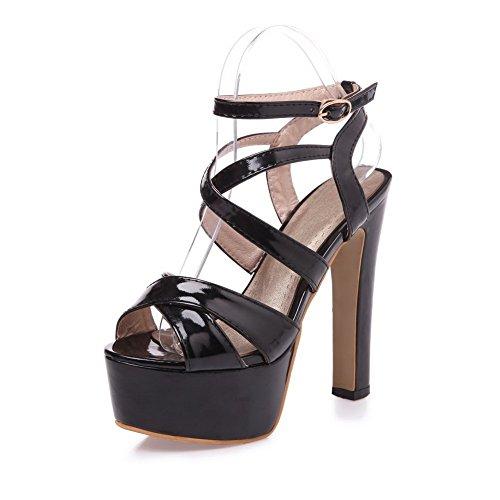 Adee Mesdames cross-body-strap High-Heels polyuréthane Sandales Noir - noir