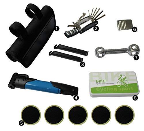 amzn prime Fahrrad Reparatur Set für unterwegs :: mit Tasche u. LUFTPUME! :: Werkzeug :: Reifen Flickzeug selbstklebend :: Mountain-Bike, e-Bike, alle Fahrräder :: 1er Set