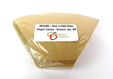 EDESIA ESPRESS - 80 filtres à café coniques en papier - non blanchis - taille 1