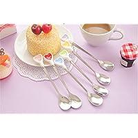 EQLEF® 5 PCS couleur d'amour en acier inoxydable à long manche Cuillère Pour Café Dessert Crème glacée