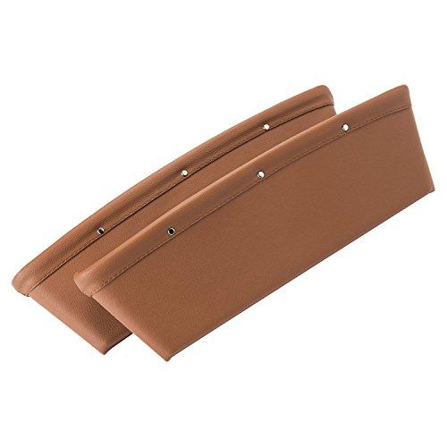 2 pezzi Vera Pelle Scatola per Auto Seggiolino auto Gap Filler Fessura Storage Box Pad Pocket Cuoio Tasca Raccogli Organizer Tascabile Superiore Qualità Marrone