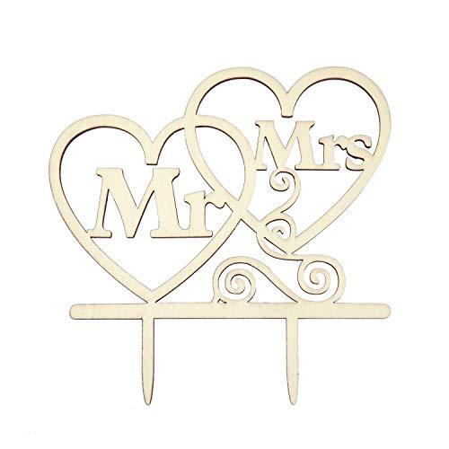 ten Kuchen Topper Aufsatz - Mr & Mrs + Herzen - Holz Dekoration für Hochzeit JGA Junggesellinnenabschied Deko ()