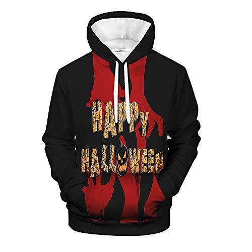 Andouy Herren Horror Halloweenkostüm Lustige 3D Druck Party Pullover Tops Lässig Langarm Kapuzenpullover Sweatshirts(3XL.Schwarz)