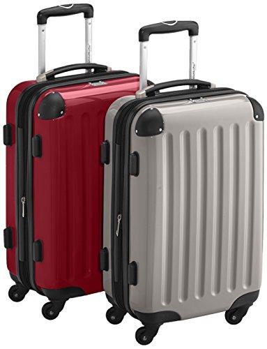 HAUPTSTADTKOFFER - Alex - 2 x Handgepäck Hartschale glänzend, TSA, 55 cm, 42 Liter, Graphit-Apfelgrün Graphit-Rot