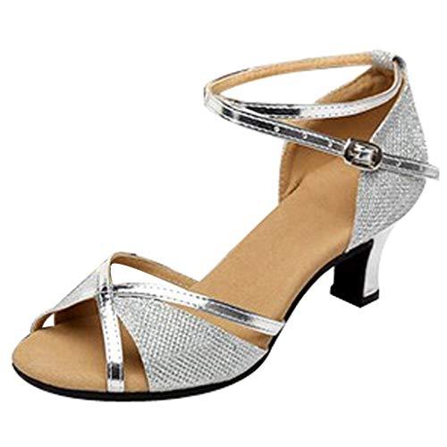 Thong Heel Schuh (Hokoaidel Pailletten Tanzschuhe Damen Sommer Latin Dance Schuhe High Heels Party Tango Party Tanzschuhe Peep Toe Damen Tanzschuhe Pumps Latin Schuhe Gesellschaftstanz Schuhe (41, Silber7))