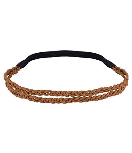 SIX Karneval Damen Haarband, elastischer Kopfschmuck aus zweireihigem braun geflochtenem Wildlederimitat (456-537)