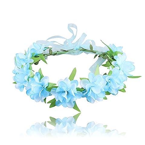 Swallowuk Frauen/Mädchen Simulation Blume Haarschmuck Haare Stirnband Garland Blumenstirnband (Blau)