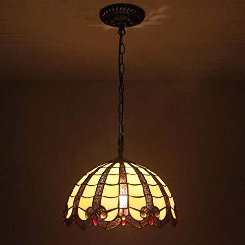 Cafe Farbton (Tiffany-Art-Deckenpendelleuchte 12 Zoll, viktorianische Buntglas-Farbton-Eisen-hängende Lampe für Restaurant-Café-Stab-Dekoration-Befestigungen, 110-240V / E27 / E26)