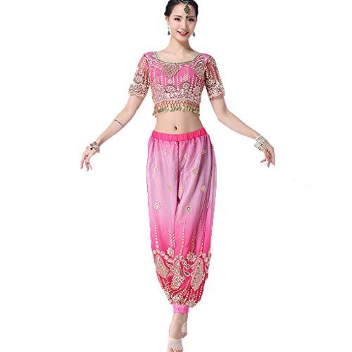 CX Erwachsene Frauen Sexy Bauchtanz Performance Kleidung Anzug Indian Dance Kostüm (Color : Pink, Size : M) - Kleidung Sexy Indian