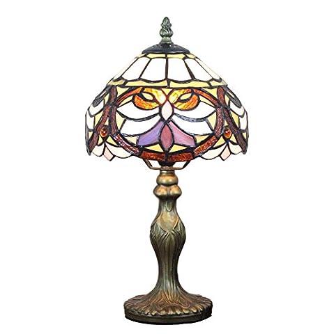 Gweat 8 pouces Vintage luxe ceinture noire Fleur Tiffany Table Lamp Lampe de chevet Lampe de bureau Enfants'S Lampe