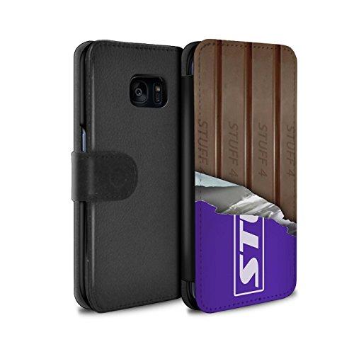 Mobile-edge-schokolade (Stuff4® PU-Leder Hülle/Case/Tasche/Cover für Samsung Galaxy S7 Edge/G935 / Eingewickelt Fingers Muster/Schokolade Kollektion)