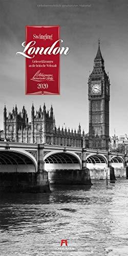 Swinging London 2020, Wandkalender in Schwarz-Weiß im Hochformat (33x66 cm) - Städtekalender / Literaturkalender mit Zitaten mit Monatskalendarium (Literarische Reihe)