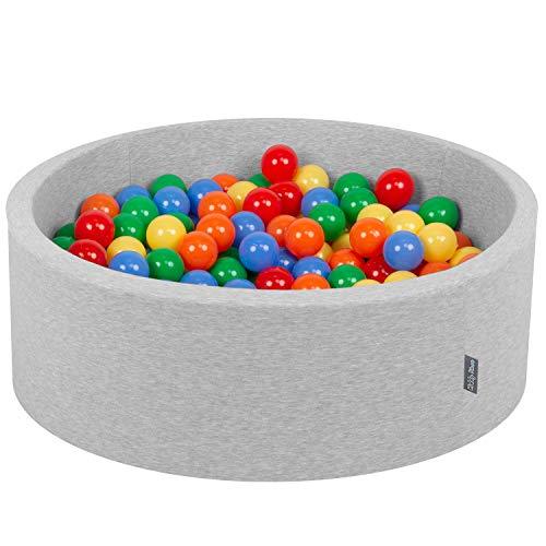 KiddyMoon 90X30cm/200 Bolas ∅ 7Cm Piscina De Bolas para Ninos Hecha En La UE, Gris Clr:Amarillo,Verde,Azul,Rojo,Naranja