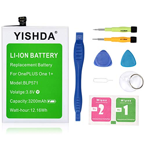 Yishda batteria, 3200mAh batteria BLP571per OnePlus One Oneplus One smartphone One Plus One 1+ con strumenti di installazione [18mesi di garanzia]
