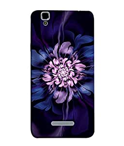 Fuson Designer Back Case Cover for YU Yureka :: YU Yureka AO5510 (Round Circular Purple Flower Painting)