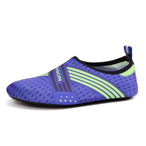 XIGUAFR Chaussure de Sport Aquatique Homme Femme Chaussure de Plage de Piscine de Ballet de Yoga Barefoot Souple Bleu 38